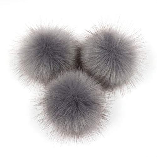 Silverdee Süße Fuchspelz Pompon abnehmbare Fell Flauschigen Wackelball mit Druckknopf für DIY Hüte Caps Taschen Kleidung Schuhe Dekor-dunkelgrau