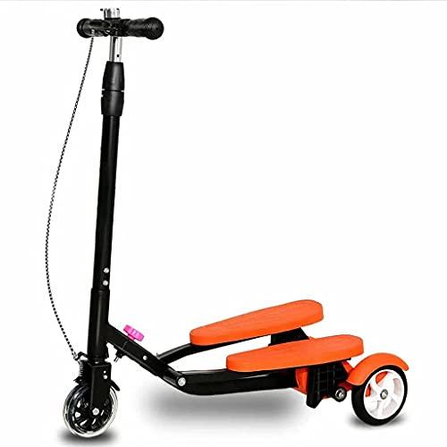 WZWHJ wunderschönen Faltungsroller-Roller-Roller-Roller-Dreirad-Drift-Roller für Jungen und Mädchen 5 Jahre alt und oberhalb Einstellbarer Höhe-Swing-Roller (Farbe: Grün) (Color : Orange)