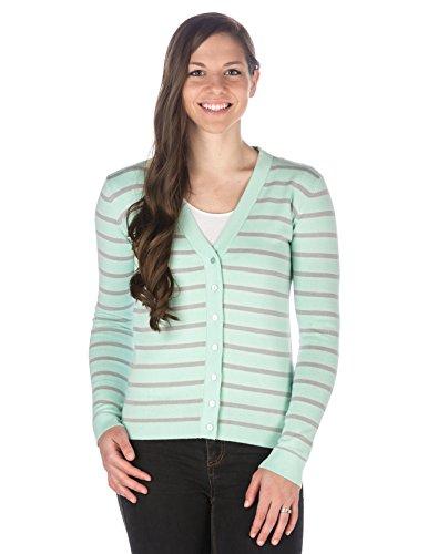 Noble Mount Womens 100% Cotton Cardigan Sweater - Stripes Aqua-Gray - Medium