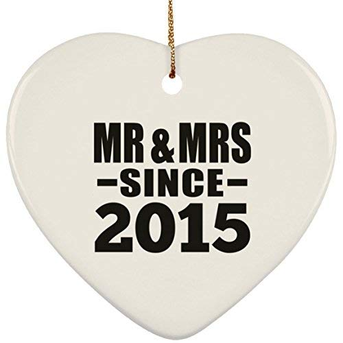 4th Anniversary Mr & Mrs Since 2015-Heart Ornament Christmas Tree Ceramic Decoration-Gift for Wife Husband Wo-Men Her Him Wedding Mother's Father's Day Birthday Anniversary