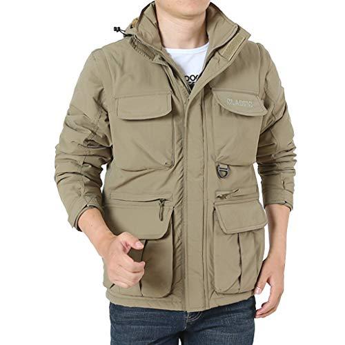 Dasongff outdoorjas voor heren, military softshell licht, lange mouwen, windbreaker, vrijetijdsjas, overgangsjas, winterjas met multi-tas