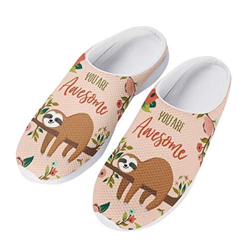 chaqlin Mode Frauen Sommer Mesh Sandalen 3D Tiere Slip-on Hausschuhe Atmungsaktiv Weibliche Strand Wasser Schuhe, - Genial Faultier - Größe: 38 EU