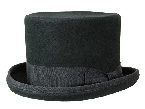 Guerra Top Hat Zylinder 14 cm aus Wollfilz - Schwarz (Black) - 58 cm