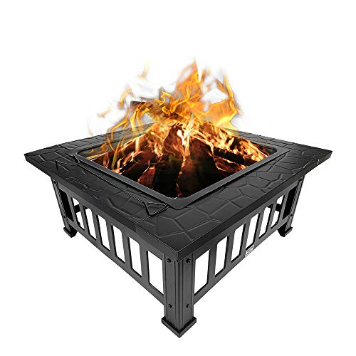 Henf 32' Outdoor Fire Pit Square Metal Firepit, Wood Burning Backyard Patio Garden Fireplace BBQ Grill Fire Pit Bowl with Spark Screen Cover