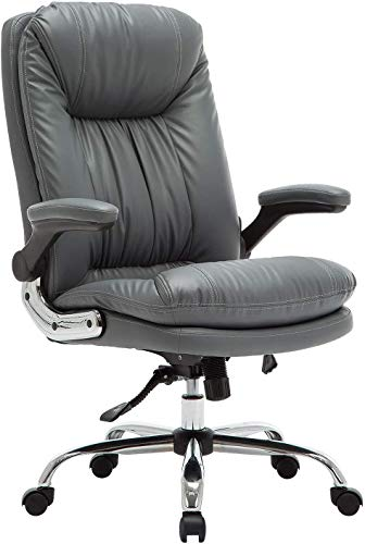 YAMASORO Ergonomic Executive Office Chair with Flip-up Arms and Back Support, Home Office Chair, High-Back Leather Office Chair for Home and Bedroom (Grey)