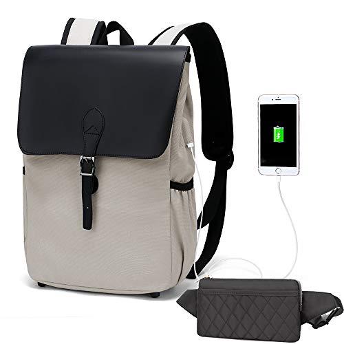 WindTook Rucksack Laptop Vintage Canvas Daypack Damen Schön Backpack 15 Zoll Schultasche Schulrucksack mit USB Kabel für Teenager Uni Arbeit Modisch Alltag Freizeit, Grau mit Bauchtasche Grau