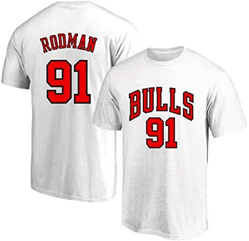 WZ Männer Sommer Kurzarm-T-Shirt Basketball Kleidung Chicago Bulls 91# Dennis Rodman Retro-Rundhalsausschnitt Jeysey, Fitness Sports Breath Top,Weiß,S:160~165cm