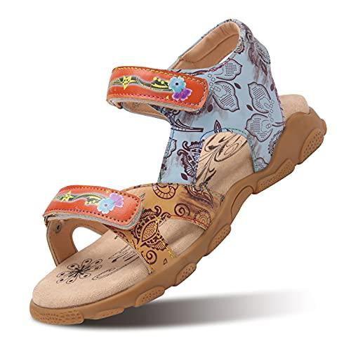 Camfosy Sandalias Planas de Senderismo de Cuero para Mujer,Sandalias Deportivas Verano al Aire Libre Vacaciones Ocio Zapatos Hechos a Mano Cierre Velcro Ajustable Descalzos