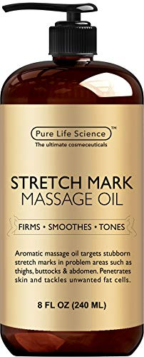Pure Life Science Stretch Mark Oil - All Natural Ingredients - Stretch Mark & Scar Therapy for Pregnancy & Uneven Skin Tone, Penetrates 6X Deeper Than Stretch Mark Cream, Non-Greasy Formula - 8 OZ