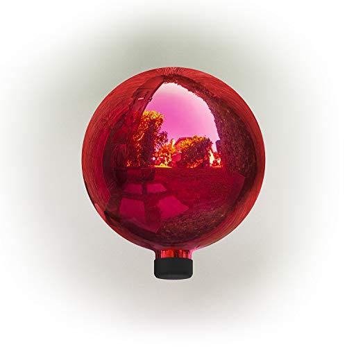 Alpine Corporation GLB292RD Glass Gazing Globe Outdoor Festive Holiday Décor for Garden, Lawn, Yard, 10-Inch Tall, Red