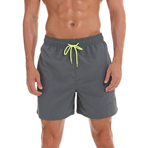 anqier Badeshorts für Männer Badehose für Herren Jungen Schnelltrocknend Schwimmhose Strand Shorts,Grau,XL(EU)-MarkeGröße:XXL-Taille 98-106cm