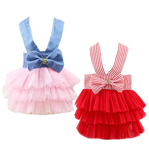 Yikeyo Set of 2 Dog Dress for Small Dogs Girl Pet Puppy Cat Lace Tutu Princess Stripe Clothes Summer (Medium, Red+Blue)