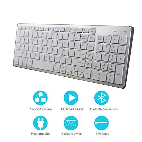Z Zienstar- Teclado Bluetooth Español,Teclado Inalámbrico Estándar Recargable con Teclado Numérico para Computadora Portátil, Computadora de Escritorio,Tableta,Windows iOS,Android (Plata)