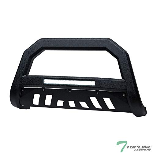 Topline Autopart Textured Black AVT Style Aluminum LED Light Bull Bar Brush Push Front Bumper Grill Grille Guard With Skid Plate For 05-07 Jeep Grand Cherokee / 06-10 Commander