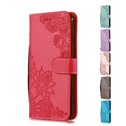 Funda Libro para Apple iPhone 5 5S SE Carcasa de Cuero PU Premium Encaje de Flores de Mandala Flip Wallet Case Cover con Tapa Teléfono Piel Tarjetero - Rojo