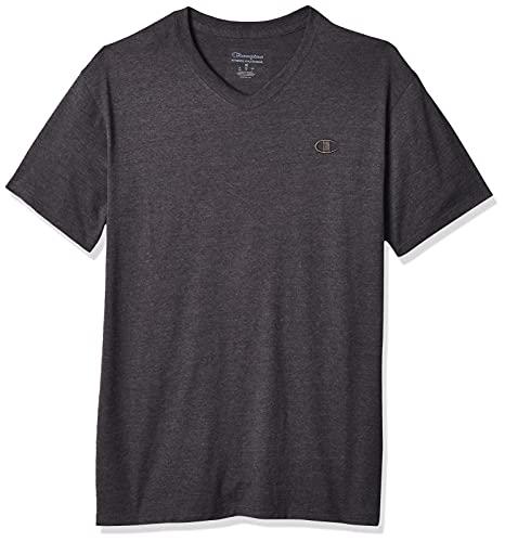 Champion Men's Classic Jersey V-Neck T-Shirt, Granite Heather, XL