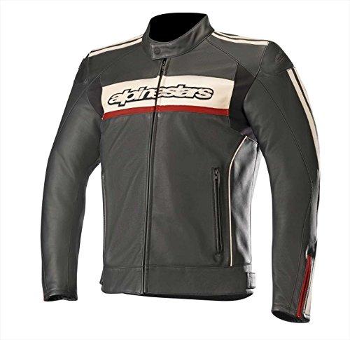 Alpinestars Motorradjacken Dyno V2 Leather Jacket Black Stone Red, Schwarz/Weiss/Rot, 52