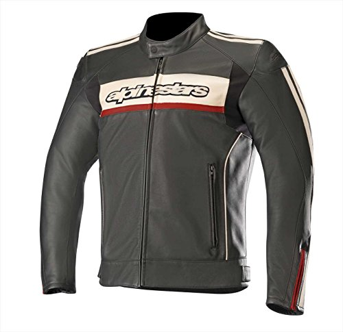 Alpinestars Chaqueta moto Dyno V2 Leather Jacket Black Stone Red, Negro/Blanco/Rojo, 50