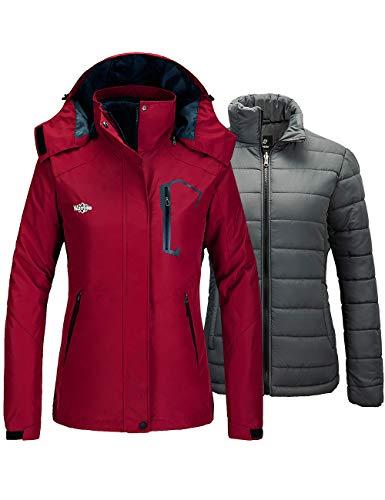 Wantdo Women's 3-in-1 Waterproof Ski Jacket Interchange Coat Wine Red Large
