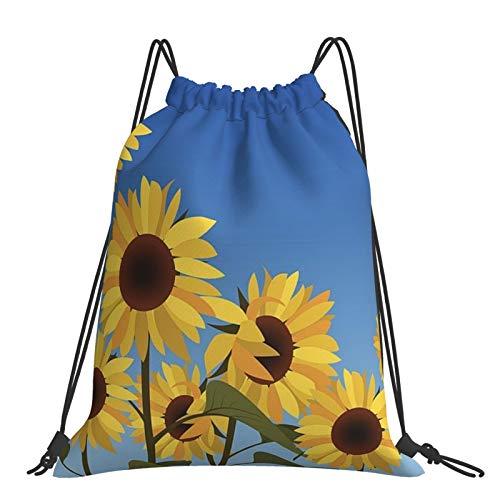 Nicegift Sunflower Against Blue Sky Mochila portátil liviana y conveniente con cordón y bolsillo impermeable grande