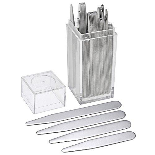 Zysta 40.Stück Kragenstäbchen Set aus hochwertigem Edelstahl 4 Größe mit original Etui