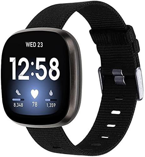 Nylon Trenzado Correa de Reloj Compatible con Fitbit Versa 3 / Fitbit Sense, Clásicos exquisitos Pulseras de la Correa de los Hombres (Pattern 11)