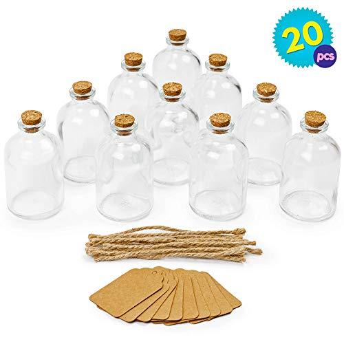 20 Mini Botellas con Corcho | Frascos de Vidrio con Etiquetas Adjuntas de 50 ml | Botella Cristal Pequeño Ideal para Regalos de Decoración de Bodas | Perfecto para Rellenar Licor Dulces Y Golosinas