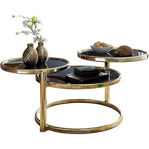 KadimaDesign Mesa de Centro SUSI con 3 tableros de Mesa en Color Negro y Dorado, 58 x 43 x 58 cm, Mesa Auxiliar Redonda, diseño de Cristal y Metal, Mesa de Cristal
