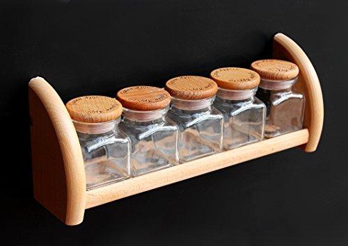 DanDiBo Gewürzregal aus Holz Buche mit 5 Gläser Gewürzhalter Regal Wandregal Küchenregal
