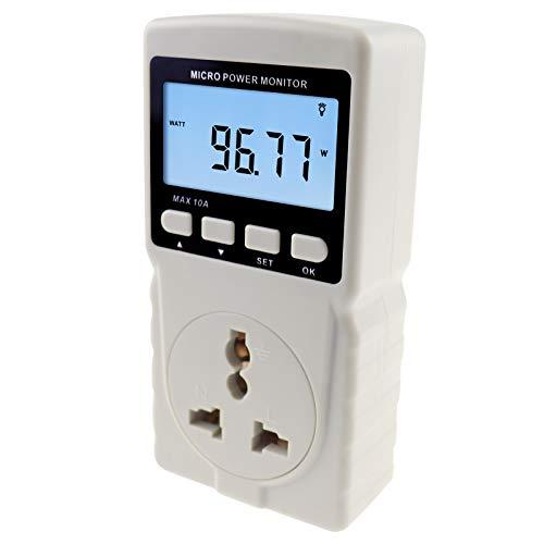 Steekbaar stopcontact, vermogen meter, energie watt, spanningsstroom, frequentie, stroom, gebruik monitor.