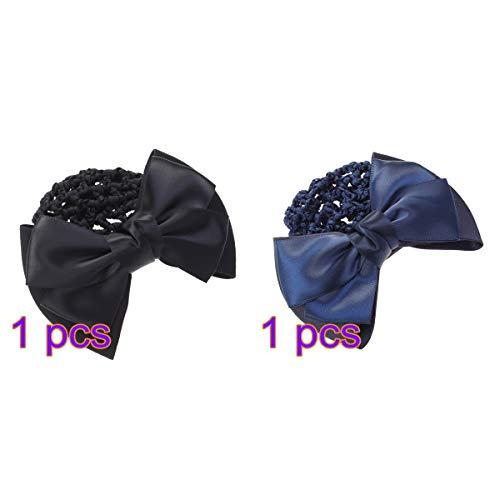 Beaupretty Bowknot Décor Snood Net Barrette Pince À Cheveux Cheveux Bun Couverture Net pour Les Femmes Ballet Bureau 2 Pcs