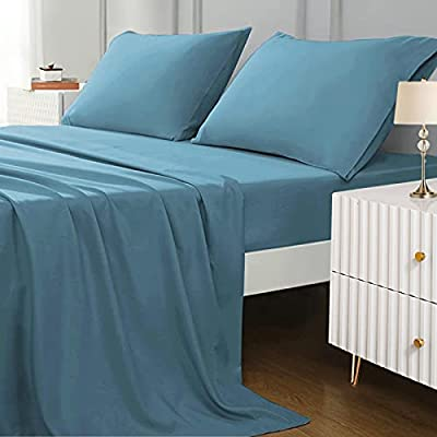 DUVAGE Full Sheet Set - 4 Piece Super Soft Bed Sheet Set 100% Brushed Microfiber 1800 Thread Count 16 Inch Deep Pocket Sheets Breathable Hypoallergenic Wrinkle Resistant (Sky Blue Full)