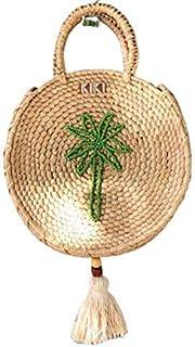 Kiki Boho   Palmera Sunbag, bolsa de palma guano decorada con una palmera de cuentas verdes