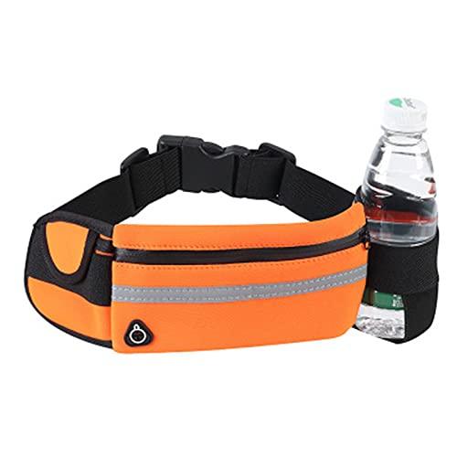 パックスポーツランニングベルトポーチバッグ、折りたたみ式ウォーターボトルホルダーのランニングベルトバッグ、男女性の屋外トレーニング,オレンジ色