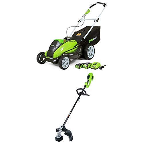 Great Price! Greenworks 19-Inch 40V Cordless Lawn Mower with 14-Inch 40V Cordless String Trimmer (At...