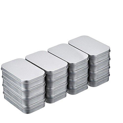 16 Stück Dose Metalldose Blechdose Metallbox Metall Behälter Container Organizer mit Deckel Aufbewahrungsbox Leer Klein Rechteck Silber (8.8*6*1.9cm)