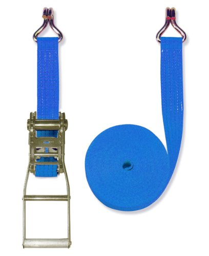 Braun Spanngurt 4000 daN, zweiteilig, für Profis nach DIN EN 12195-2, Farbe blau, 8 m Länge, 50 mm Bandbreite, mit Langhebel-Ratsche und Spitzhaken.