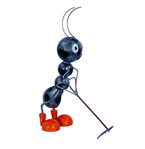 Amicaso Hormigas con rastrillo Decorativo de Metal para jardín