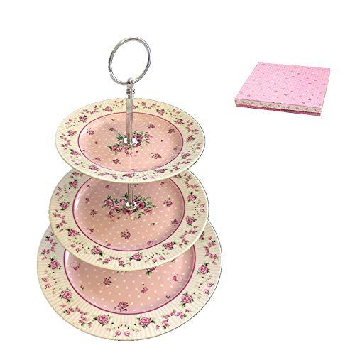 London Boutique Soporte de 2 Niveles para Tartas de Porcelana, diseño Vintage de Flores de Victoria en Caja de Regalo, Color Rosa