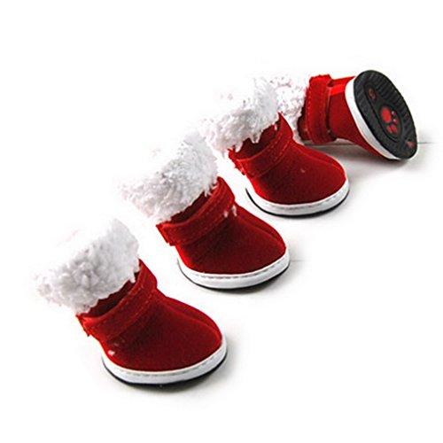 Ranphy Kleine Hunde Wasserabweisende Hundeschuhe mit reflektierender und robuster Anti-Rutsch-Sohle, Hunde Pfoten halten warm im Winter, Rot, XS