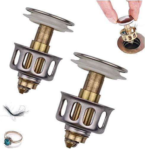 BINGXY 2PCS Edelstahl-Push-Type-Bounce-Core Universal-Bounce-Ablassfilter für das Waschbecken, Abflussfilter