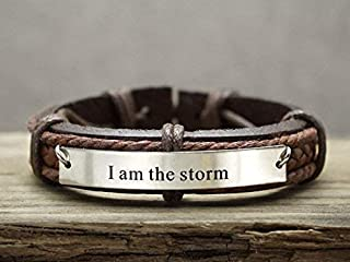 Personalized Mens Leather Bracelet, Inspirational Quote Engraved Cuff, Game of Thrones Inspired- I am the Storm, Available in Stainless Steel Copper Brass