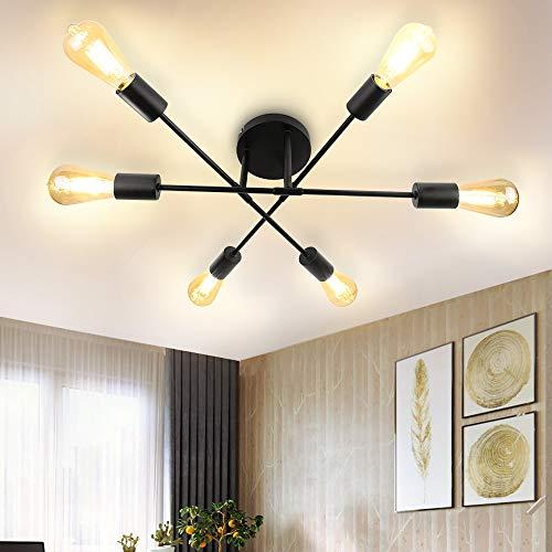 6-Light Sputnik Ceiling Light,Depuley Adjustable Black Metal Ceiling Light,Modern Industrial Chandelier,Semi Flush Mount Ceiling Light for Living Room,Bedroom,Dining Room,Kitchen(Bulbs not Included)