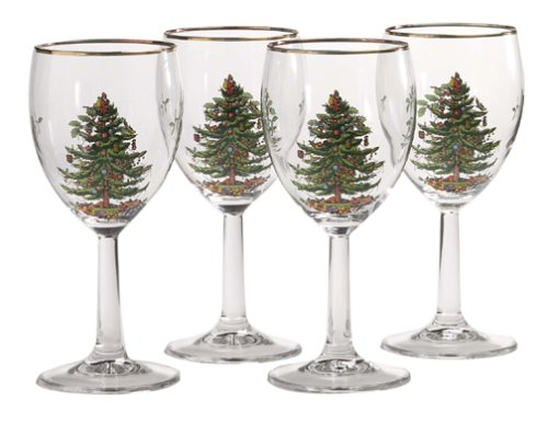Spode Christmas Tree Wine Goblets with Gold Rims, Set of 4