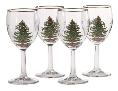 Spode Weihnachtsbaum Weihnachtsbaum-Weinkelche mit Goldrand Set of 4 Weihnachtsbaum