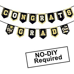 2020 Black Graduation Banner - No DIY Required Blue Graduation Party Supplies Decorations Grad Banner for College, High School Party (Black Congrats Grad)