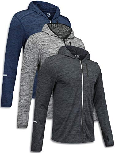3 Pack Men's Long Sleeve Full Zip Training Hoodies, Active Hooded Shirts Performance Quick Dry Running Tops Bulk (Edition 2, X-Large)