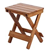 Mumusuki Silla Plegable de Madera, Taburete de bambú portátil Cuadrado para el...