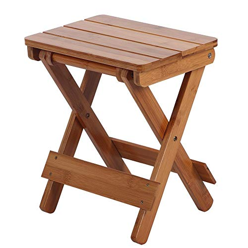 Mumusuki Silla Plegable de Madera, Taburete de bambú portátil Cuadrado para el hogar al Aire Libre