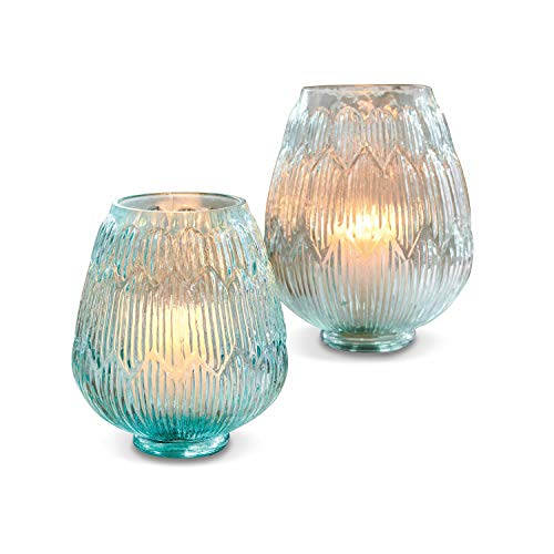 Loberon Windlicht 2er Set Gallo, Glas, blau